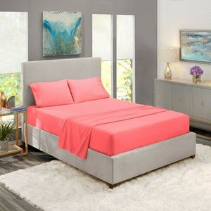 Coral Pink Egyptian Comfort Bed Sheets 4 Piece!